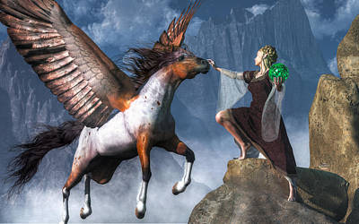 Pegasus Digital Art - Elf Summoning A Pegasus by Daniel Eskridge