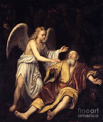 Elijah And The Angel Print by Godfrey