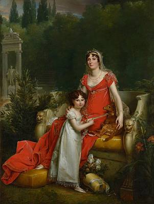 Statue Portrait Painting - Elisa Bonaparte With Her Daugher Napoleona Baciocchi by Francois Gerard
