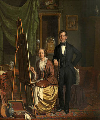 Painting - Self-portrait With Her Husband Petrus Kiers by Elisabeth Alida Haanen
