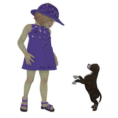 Pup Digital Art - Eliza And Staffordshire Puppy by Corey Ford