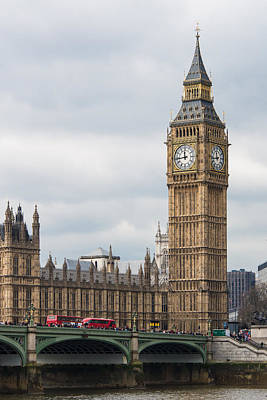 Big Ben Photograph - Elizabeth Tower And The Westminster Bridge by AMB Fine Art Photography