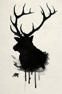 Deer Drawing - Elk by Nicklas Gustafsson
