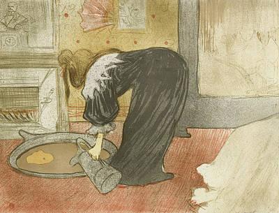 Bathing Painting - Elles, Woman At The Tub by Henri de Toulouse-Lautrec