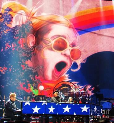 Elton John Then And Now Original by Allen Meyer