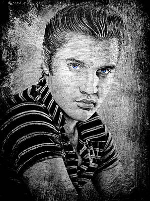 Rock And Roll Art Drawing - Elvis Dark Slate by Andrew Read