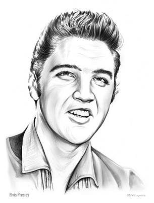 Rock And Roll Drawing - Elvis by Greg Joens