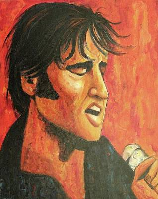 Suzanne Marie Leclair Painting - Elvis In Black And Red by Suzanne  Marie Leclair