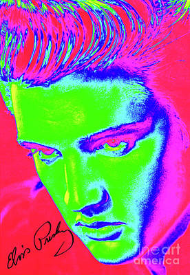 Celebrities Photograph - Elvis Preslely - Colourful  by Prarthana Kulasekara