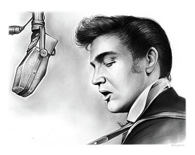 Rock And Roll Drawing - Elvis Presley by Greg Joens