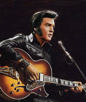 Painting - Elvis Presley - Detail View by Dominique Amendola