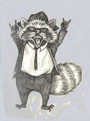 Raccoon Mixed Media - Elwood Raccoon by Peggy Wilson