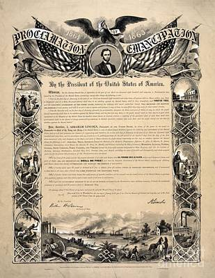 Proclamation Painting - Emancipation Proclamation 1863 by Celestial Images