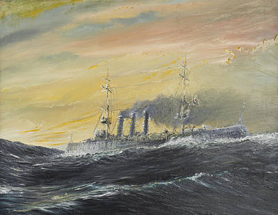 World War One Painting - Emden Rides The Waves by Vincent Alexander Booth