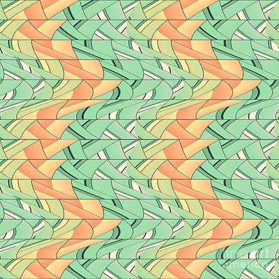 Tessellation Digital Art - Emerald And Salmon Pattern by Gaspar Avila
