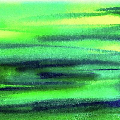 Landscapes Painting - Emerald Flow Abstract Painting by Irina Sztukowski
