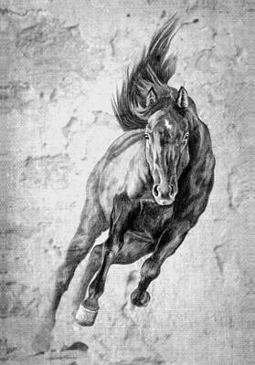 Emergence Galloping Black Horse Print by Renee Forth-Fukumoto