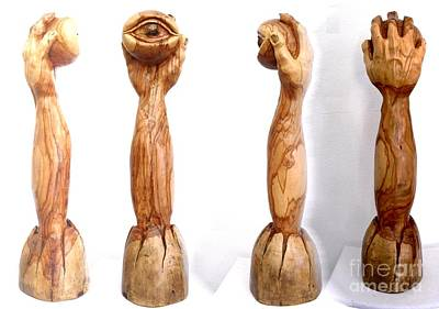 Original featuring the sculpture Emerging Eye by Eric Kempson