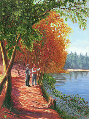 Walden Pond Painting - Emerson And Thoreau At Walden Pond by Steve Simon