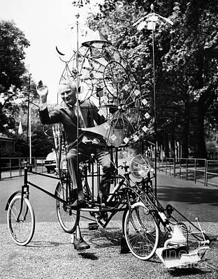 Cartoonist Photograph - Emett: Lunacycle, 1970 by Granger