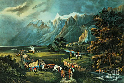 River Scene Painting - Emigrants Crossing The Plains by Currier and Ives