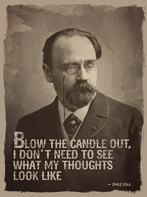 Emile Zola Quote Print by Afterdarkness