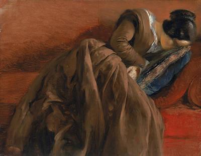 Emilie The Artist's Sister Asleep Print by Adolph Friedrich Erdmann von Menzel