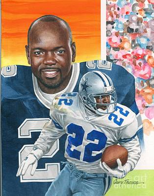 Hall Of Fame Painting - Emmit Smith by Gary Thomas