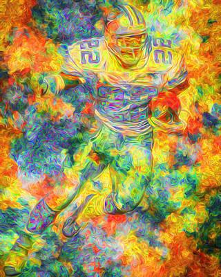 Emmitt Smith 22 Dallas Cowboys Digital Painting Yellow Print by David Haskett