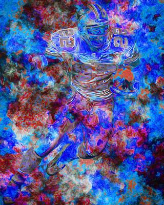 Emmitt Smith Dallas Cowboys Digital Painting 12 Print by David Haskett