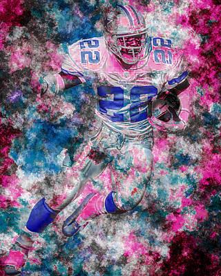 Emmitt Smith Dallas Cowboys Digital Painting 14 Print by David Haskett
