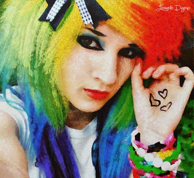 Friendly Digital Art - Emo Rainbow Girl - Da by Leonardo Digenio