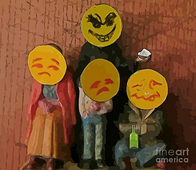 Emoji Family Victims Of Substance Abuse Print by John Malone