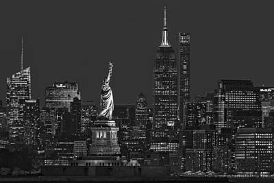Empire State And Statue Of Liberty II Bw Print by Susan Candelario