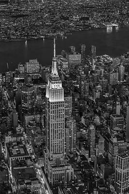 Birds Photograph - Empire State Building Aerial View Bw by Susan Candelario