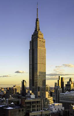 Empire State Building At Dusk Print by Randy Lemoine