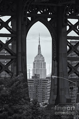 Brooklyn Bridge Photograph - Empire State Building Framed by Clarence Holmes