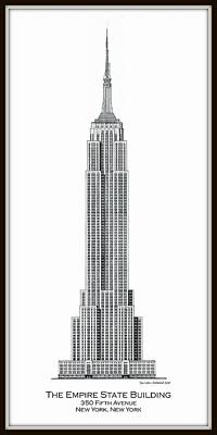Empire State Building Drawing - Empire State Building by Gene Nelson