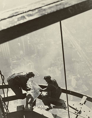 High Tower Photograph - Empire State Building by Lewis Wickes Hine