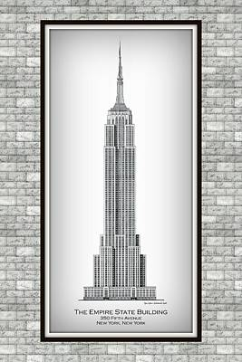 Empire State Building Drawing - Empire State Building - Vignette On Graystone by Gene Nelson