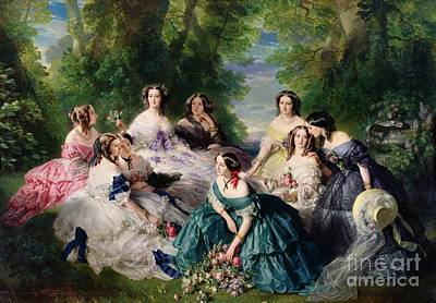 Female Painting - Empress Eugenie Surrounded By Her Ladies In Waiting by Franz Xaver Winterhalter
