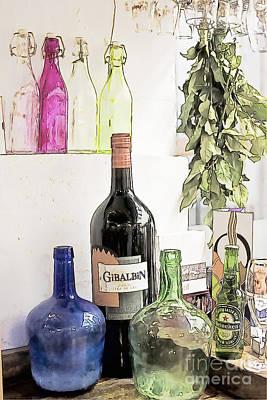 Empty Bottles And Laurel Bouquet Still Life Print by Heiko Koehrer-Wagner