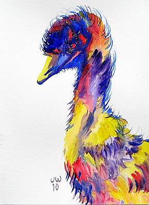 Emu Painting - Emu In A Coat Of Many Colours by June Walker