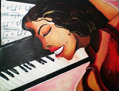 Woman Playing Piano Painting - En El Tono De Rojo-- In The Key Of Red by Ron Gamble