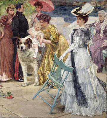Umbrella Painting - En Famille by Gustave Grau