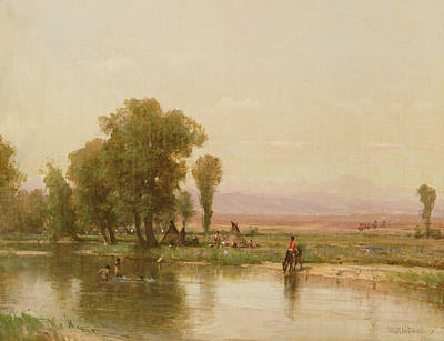 Bathing Painting - Encampment On The Platte River by Thomas Worthington Whittredge