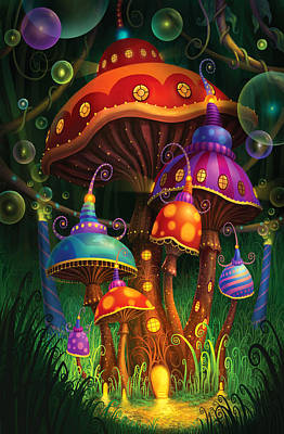 Mushroom Painting - Enchanted Evening by Philip Straub