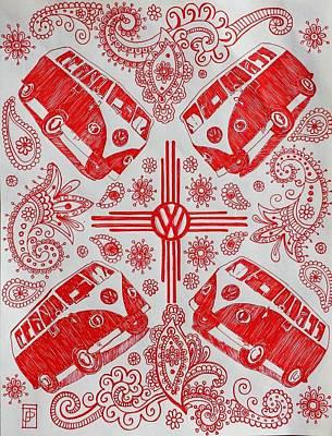 Paisley Drawing - Enchanted Magic Bus by John Parish