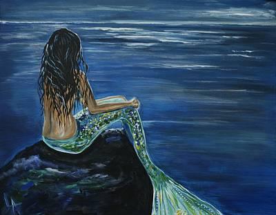 Little Mermaid Painting - Enchanted Mermaid by Leslie Allen