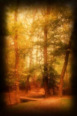 Pathway Digital Art - Enchanted Path 2 - Allaire State Park by Angie Tirado